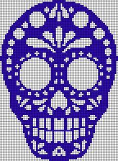 Sugar skull pattern / chart for cross stitch, crochet, knitting, knotting, beadi . Crochet Skull, Pixel Crochet, Crochet Cross, Crochet Chart, Alpha Patterns, Loom Patterns, Beading Patterns, Embroidery Patterns, Cross Stitch Skull