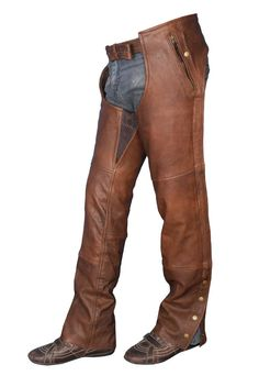Unisex Brown Leather Chaps