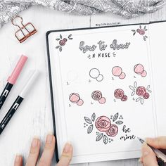 Stunningly Easy Bullet Journal Doodles You Can Totally Recreate Hand Lettering, Emma Gottlöber, Hand Lettering erstaunlich einfache . Doodle Art, Doodle Drawings, Easy Drawings, Rose Doodle, Floral Doodle, Horse Drawings, Bullet Journal Inspo, Bullet Journal Ideas Pages, Bullet Journals