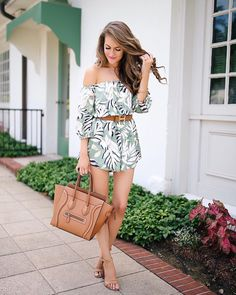 Click the link in my profile for details on this palm print romper (it's still available in all sizes!)  http://liketk.it/2rFQI #liketkit #ltkunder100 #wiw #whatiwore #ootd #ontheblog #palmprint #lookbook #happymonday #celine #hermes