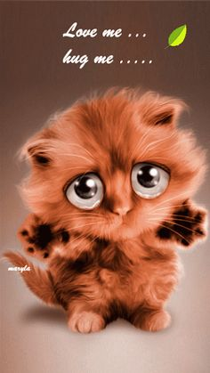 Hug me Kitty Animals And Pets, Baby Animals, Cute Animals, Cat Hug, Dog Cat, I Love Cats, Cute Cats, Love You Gif, Animation