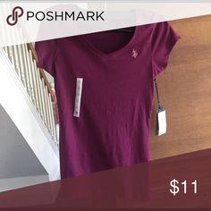 Purple polo v neck New with tags. U. S. POLO ASSN Tops Tees - Short Sleeve