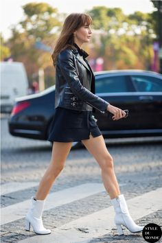 leather jacket with skirt 2017 and white boots