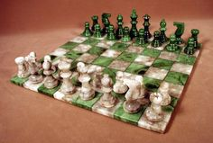 Beautifully crafted alabaster chess set, green/grey chess board, 3 King Specifications: King Height: 3 King Base: 1 Square Size: 1 Length: 14 Width: 14 Height: Weight: 9 lb Manufacturer: Scali Country of Origin: Italy Dimensions 14 x 14 x Diy Chess Set, Chess Set Unique, Chess Sets, How To Play Chess, Chess Table, Set Game, Chess Pieces, Table Games, Board Games
