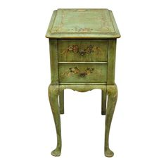 Item features hand painted green distressed finish with floral acc. Estilo Adam, Adam Style, Distressed Painting, French Antiques, Nightstand, Vintage Items, Shabby, Hand Painted, Floral