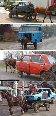 In some parts of the world, cars and trucks have actual horse (or ox) power.