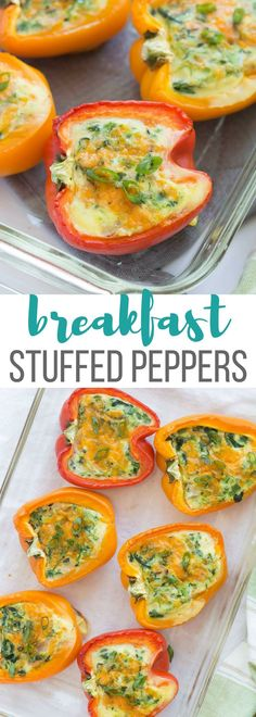 These Breakfast Stuffed Peppers with cheese, bacon and spinach (or use whatever fillings you like!) are an easy, healthy, low carb breakfast, lunch or dinner!  Cook them in the oven or the slow cooker! Includes step by step recipe video. #lowcarb #lowcarbdiet #breakfast #breakfastrecipes #healthyfood
