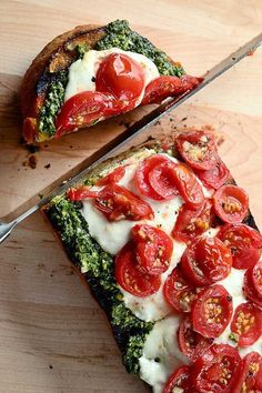 Goat cheese & basil pesto on french loaf
