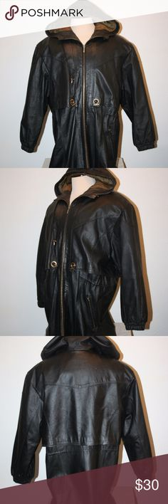 """GIII Black Leather Jacket XL Hooded Zip Front G III Very Good Condition NOTE:  There is a small amount of wear near the front collar by the hood and the sleeve hems -  See photos. Black Zip Front Two Front Zippered Pockets One Inside Pocket Size:  XL Hood With Drawstring Quilted Style Lining Drawcord on Inside at Waist   Chest:  54"""" (armpit to armpit then doubled) Length:  36"""" (top of shoulder down) Collar To Shoulder Seam:  8"""" Shoulder Seam To Sleeve Hem:  23"""" Shoulder Seam to Shoulder…"""