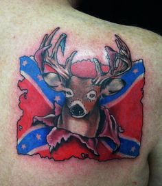 Confederate Flag With A Buck - Cool Rebel Flag Tattoos, http://hative.com/30-cool-rebel-flag-tattoos/,