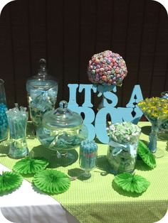 My Candy Shoppe for baby boy shower. Colors blue, green and white