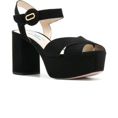Prada criss cross sandals (2.184.035 COP) ❤ liked on Polyvore featuring shoes, sandals, strappy platform sandals, chunky-heel sandals, black sandals, strappy sandals and strappy high heel sandals