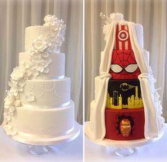 Creative Two-Faced Wedding Cake Reveals Playful Superhero Theme At The Back - DesignTAXI.com