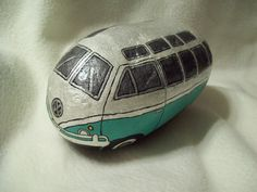 Pearl White and Mint Green VW Volkswagen Bus Painted River Rock. $20.00, via Etsy.