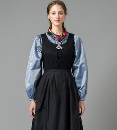Nord-Norsk festdrakt Folk Fashion, High Neck Dress, Culture, Costumes, Folk Style, Norway, Outfits, Clothes, Dresses