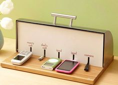 Transform a bread box into a charging station for small electronic devices. (Plus 23 other home office storage solutions) Cheap Home Office, Home Office Storage, Home Office Organization, Storage Organization, Storage Ideas, Box Storage, Charger Organization, Grain Storage, Wire Storage