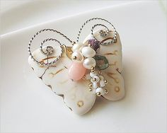 Hanabe Women Handmade Butterfly Coral Cultured Pearl Crystal Beaded Small Point Brooch Pin White * Check out the image by visiting the link. (This is an affiliate link) #JewelryLover
