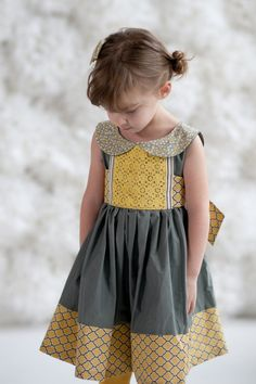 Limited Edition Girls Grey and Yellow Peter Pan Collar Party Dress- Mary Sunshine Sizes 12/18 through 14. $70.00, via Etsy.