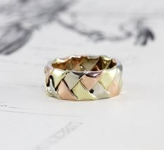 Vintage Tri Color Gold 14k Wedding Band 14k by TheEdenCollective