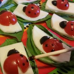 This was a huge hit, I got the small round multigrain crackers at Trader Joes, topped with cheese that I cut out with a scalloped round cutter and basil and the ladybugs. Caprese Salad Recipe, Caprese Skewers, Food N, Good Food, Food Art For Kids, Brunch Recipes, Brunch Ideas, Party Snacks, Creative Food