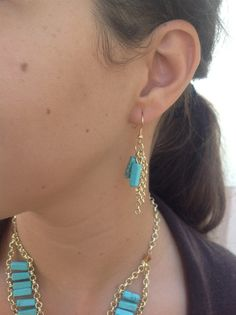10-126 Turquoise and chains earrings  ONLY $12