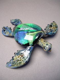 Handblown Glass sculptured Sea Turtle with Dichroic by Glassnfire, $89.00