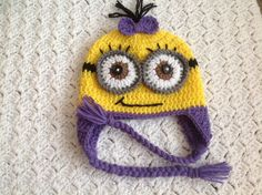 PURPLE Despicable Me Crochet Minion Hat for by Chinguliscreations