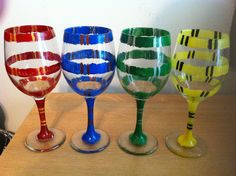 Harry Potter House Scarf Hand Painted Wine Glasses