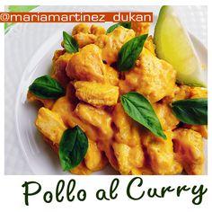 Pollo al Curry Dukan, en dos versiones: una para fase Crucero con leche de coco (tolerado) y otra apta desde la primera fase de la dieta (fase Ataque)
