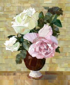 Mosaic flowers by Pavel Martushev, via Behance