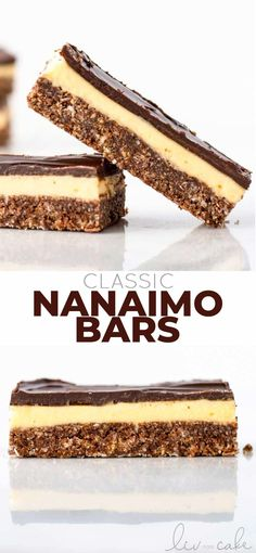 These Nanaimo bars are a classic Canadian treat. Coconut, graham cracker crumbs, chocolate, and a delicious custard layer. No-bake, super easy to make! Holiday Baking, Christmas Baking, Easy Desserts, Delicious Desserts, Sweet Desserts, No Bake Desserts, Yummy Food, Baking Recipes, Cookie Recipes