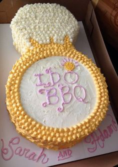 "Engagement shower cake - ""I Do BBQ"" theme"