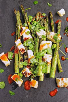 Grilled Asparagus and Halloumi Salad with Harissa Vinaigrette
