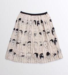 ○エスパンディBoysFaceプリーツスカート Pleated skirt with face print - from ambidex store, japan