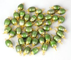 10 Pcs Green Pearl Wire Wrapped 9x12mm 24k Gold Plated Pearl Beads,Beads Charms,Bracelet Charms,Wire Wrap Link Bead by UGCHONGKONG on Etsy