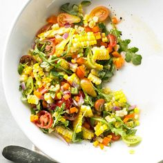 Summer-ripe sweet corn blends with fragrant basil and the zip of jalapeno in this Fresh Corn Salad. Diced cucumbers, onions, and peppers create a medley of juices that's almost a dressing on its own. More summer salads: http://www.bhg.com/recipes/salads/ideas/salad-recipes-ideas/ #myplate