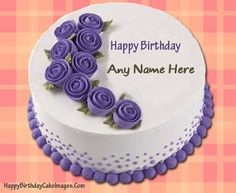 Beautiful Purple Velvet Birthday Cake With Your Name My Name