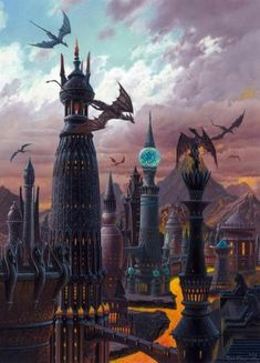 """[NO SPOILERS] The fire of the Fourteen Flames of Valyria as depicted in """"The World of Ice & Fire"""" Illustration by Ted Nasmith Fantasy City, Fantasy Places, High Fantasy, Sci Fi Fantasy, Fantasy World, Arte Game Of Thrones, Game Of Thrones Prequel, Game Of Thrones Series, Emilia Clarke"""