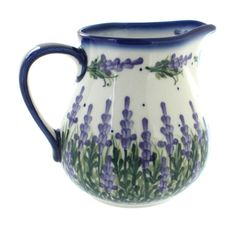 Lavender Fields Pitcher - Blue Rose Polish Pottery