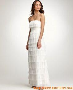 2013 stijl A-Lijn rimless mouwloos Floor-length Fringe strand trouwjurk