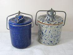 Vintage Cheese Crocks BLUE SPLATTER Set/2 INSTANT COLLECTION!   by LavenderGardenCottag