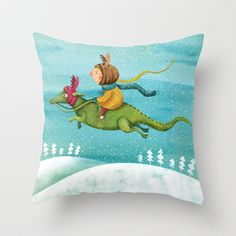 Anietshka and the snow Throw Pillow by Krisztina Maros - $20.00