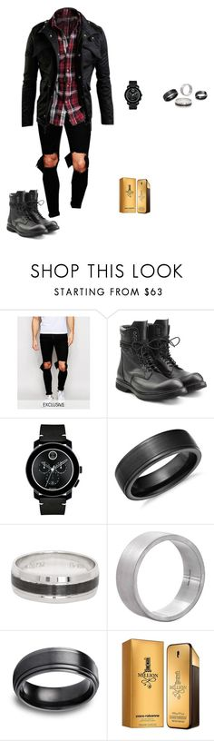 """""""Sin título #116"""" by therawtruth on Polyvore featuring Reclaimed Vintage, Movado, Blue Nile, Edge Only, Paco Rabanne, men's fashion y menswear"""