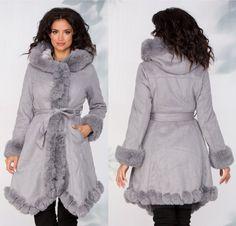 Geaca Angie gri din piele ecologica si blanita Fur Coat, My Style, Jackets, Fashion, Down Jackets, Moda, La Mode, Fur Coats, Jacket