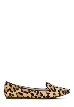 This fab flat is where it's at! Lawrence by JustFab is a loafer style pointed flat made with real genuine pony hair.