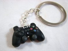 Playstation 3 controller charm. Polymer clay gamer necklace or keychain. Featured on MSNBC. Made to order.