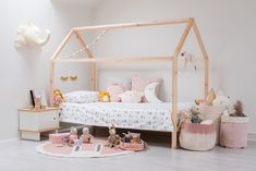 SWEET DREAMS! The new winter girl's bedroom, 'Sweet Dreams!' – featuring our favourite 'My House' Bed, and plenty of cosy cushions and soft woollen felts to snuggle up with. Sleepy Moon cushions, glitter Sleepy Eyes and our new gold dot cushion covers add a special touch of sparkle that little ones will love. #kidsroom #childrensroom #girlsroom #ikea #ikeahack #bed #kidsbed #DIY #hack #kidsinterior