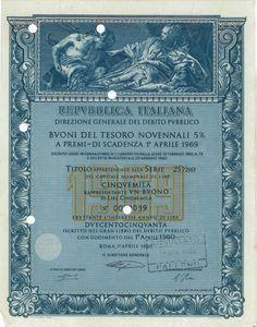 REBUBBL. ITAL. - BTP NOV. 5% A PREMI - DI SCAD. 1° APRILE 1969 AL PORT. - #scripomarket #scriposigns #scripofilia #scripophily #finanza #finance #collezionismo #collectibles #arte #art #scripoart #scripoarte #borsa #stock #azioni #bonds #obbligazioni