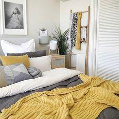 Mustard Yellow Home Décor Ideas Mustard yellow bedroom decor inspiration Mustard And Grey Bedroom, Yellow Master Bedroom, Mustard Yellow Bedrooms, Grey Bedroom With Pop Of Color, Bedroom Colors, Room Decor Bedroom, Bedroom Inspo, Bedroom Furniture, Design Bedroom