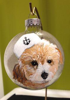 "2014 holiday mini-portrait ornament ""teeny tiny sailor hat!"" www.MeredithLondonPetPortraiture.com"